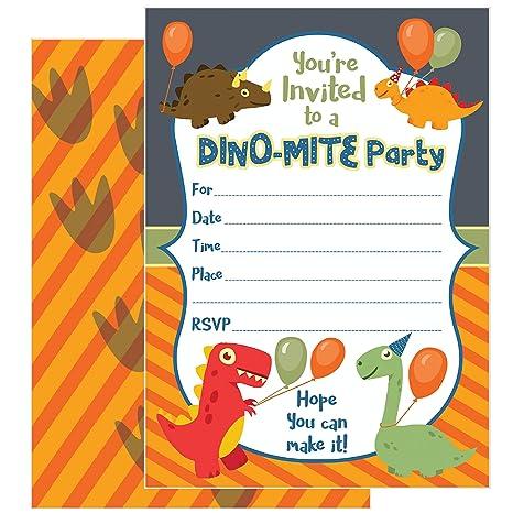 Zolco Prints 25 Invitaciones De Cumpleaños De Dinosaurio Con