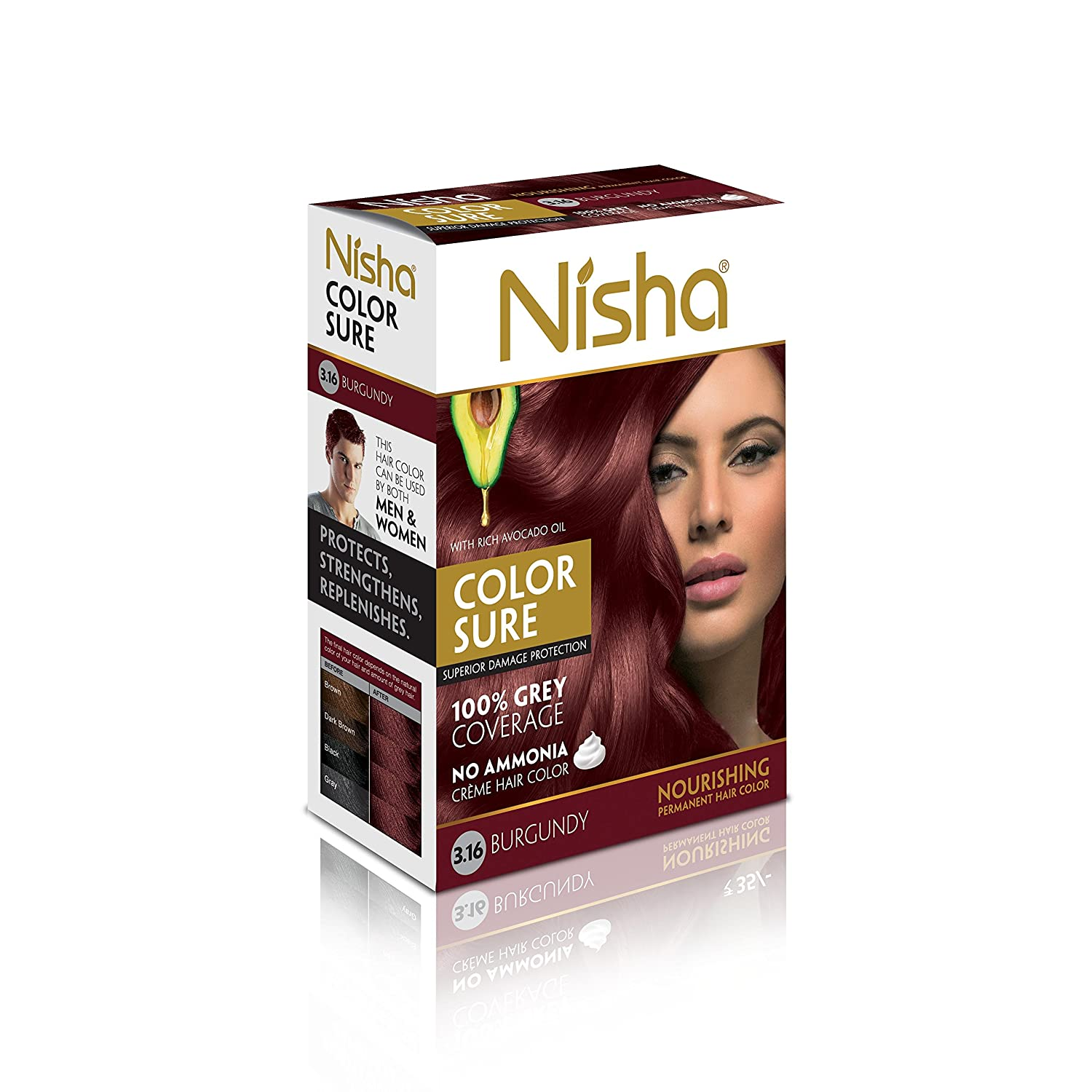 Buy Nisha Color Sure Hair Color (40g, Burgundy) Online at Low Prices ...