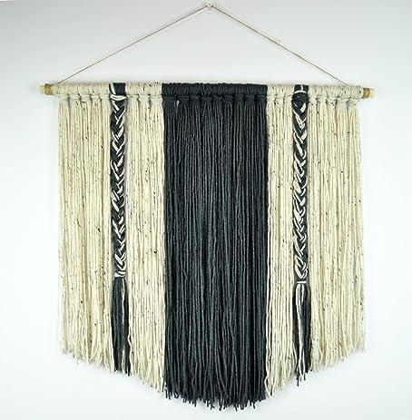 Amazon.com: Boho Yarn Wall Hanging Bohemian Minimalist Tapestry Art ...