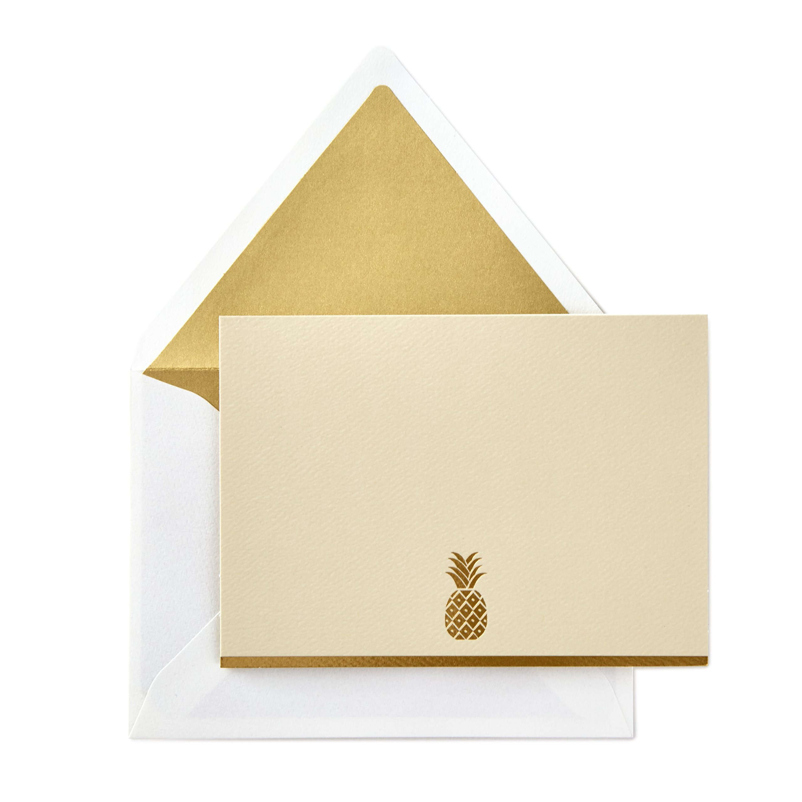 Hallmark Signature Gold Blank Cards, Pineapple (10 Cards with Envelopes)
