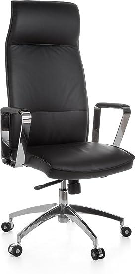 AMSTYLE Bürostuhl Verona Echtleder Schwarz Schreibtischstuhl X XL 120 kg Synchronmechanik Chefsessel Wippfunktion höhenverstellbar hohe Rückenlehne