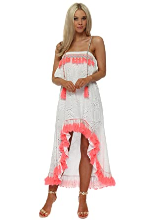ec97d4624a Monaco White Broderie Anglaise Coral Tassle Hi Lo Dress One Size Peach  Coral  Amazon.co.uk  Clothing