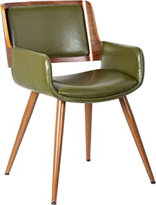 Porthos Home Finnick Dining Chair with woodent finish, Single, Green
