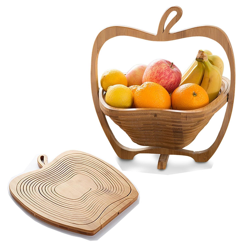 A forma di mela, pieghevole, in legno di bambù cesto di frutta in legno di bambù cesto di frutta Miss Maks