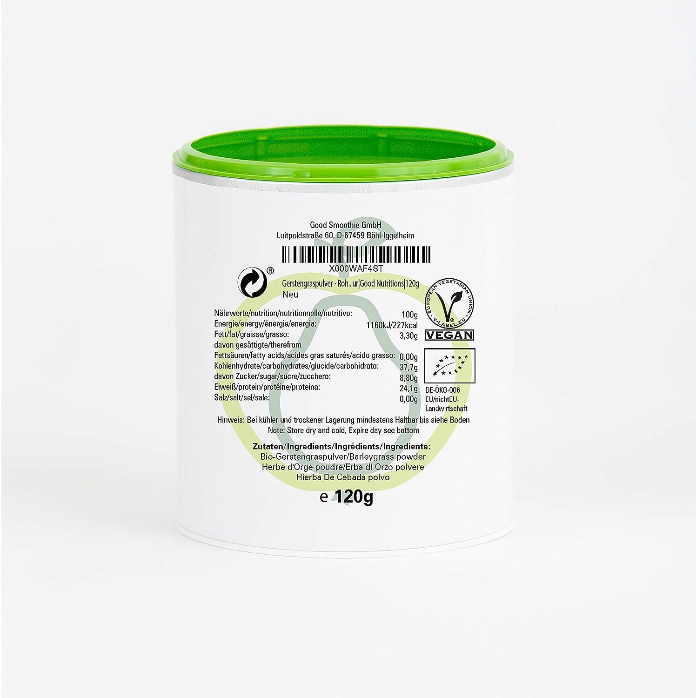 Hierba De Cebada en Polvo - rica en vitamina|biológico|vegano|crudo|pura nutrición|no aditivo|Good Nutritions|120g