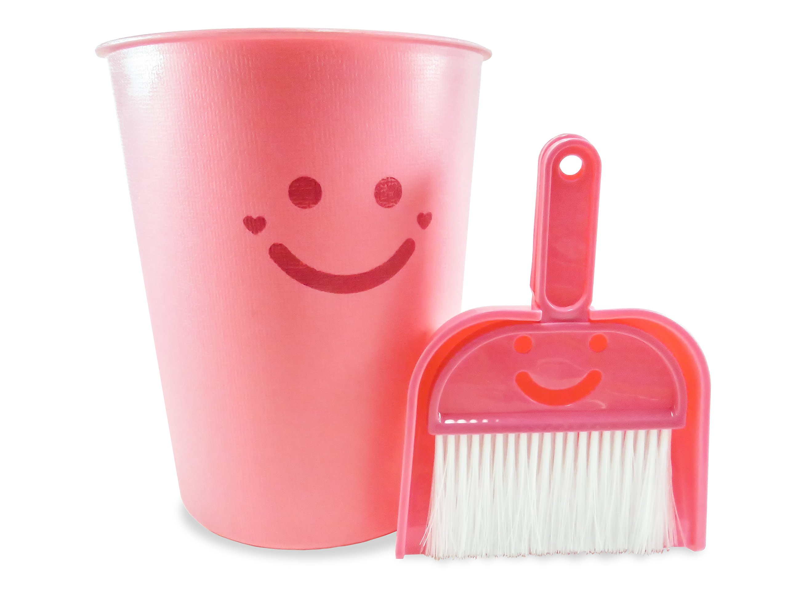 Wastebasket with Dustpan and Brush Set (3 Piece) 1 1/2 Gallon 9 3/4'' Tall Neon Pink - The Happiest Wastebasket and Dustpan on Earth