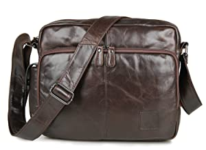 AB Earth top layer of Leather Men's Brown Large Briefcase Laptop Bag ,M995