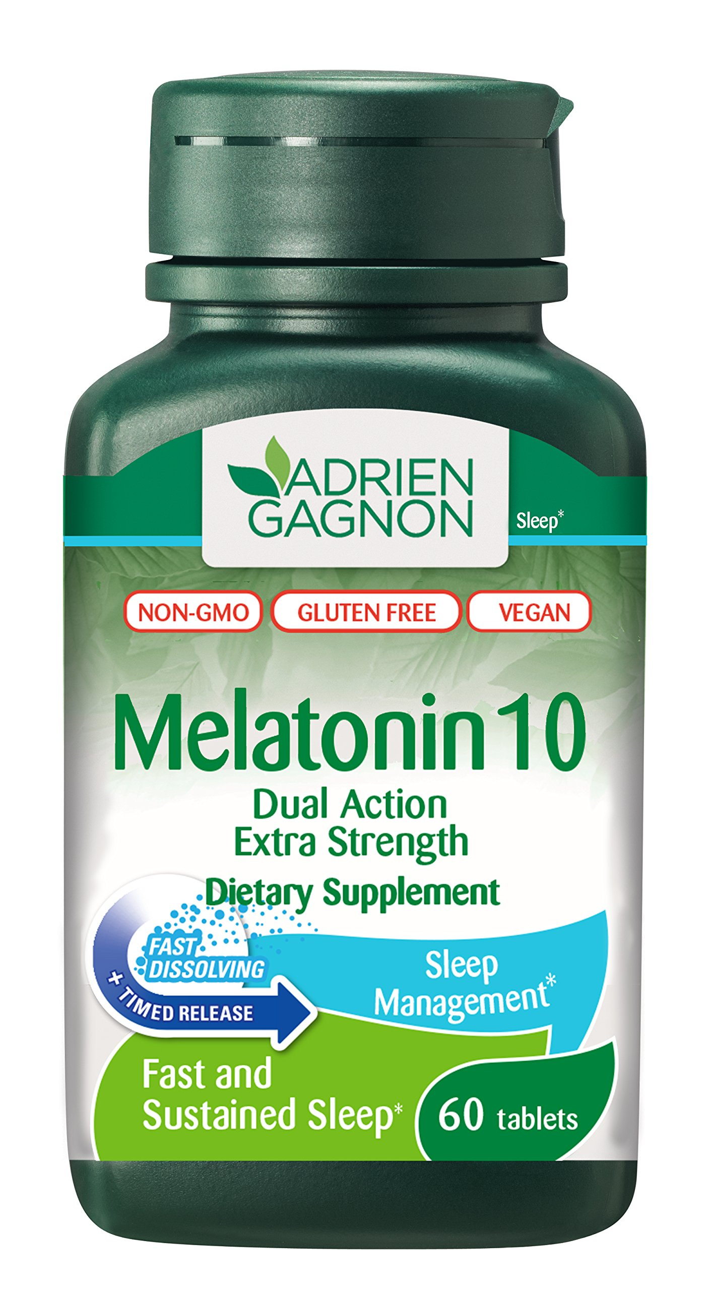 Adrien Gagnon Melatonin 10 mg - Extra Strength Sleep Aid - All Natural Sleeping Pills for