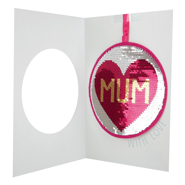 tama/ño mediano Hallmark Tarjeta de cumplea/ños reversible con lentejuelas para mam/á /«With Love/»