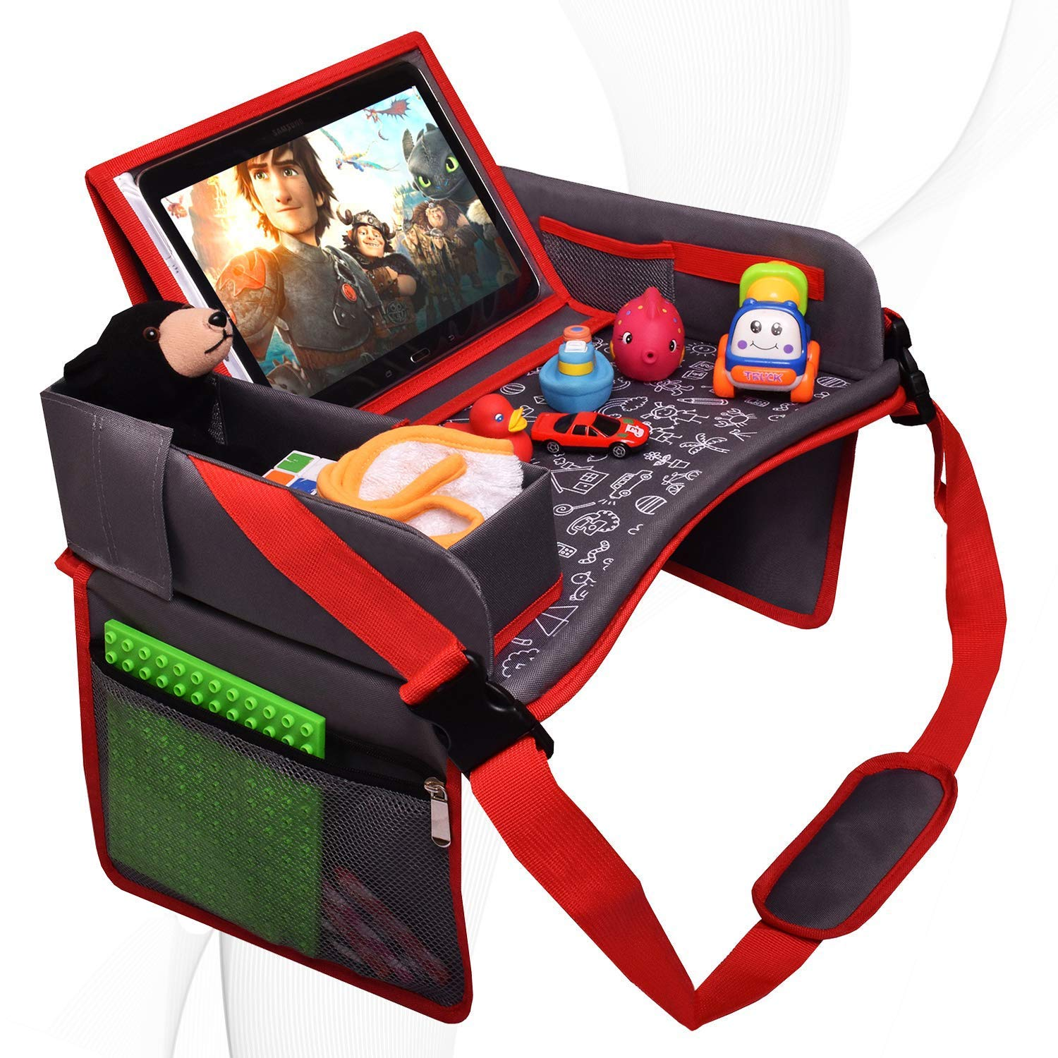 DMoose Kids Travel Tray, Toddler Car Seat Lap Activity Tray with Padded Comfort Base, Side Walls, Mesh Snack Pockets, Tablet Holder, Waterproof Car Seat, Stroller, Airplane Play and Learn Area (Grey)