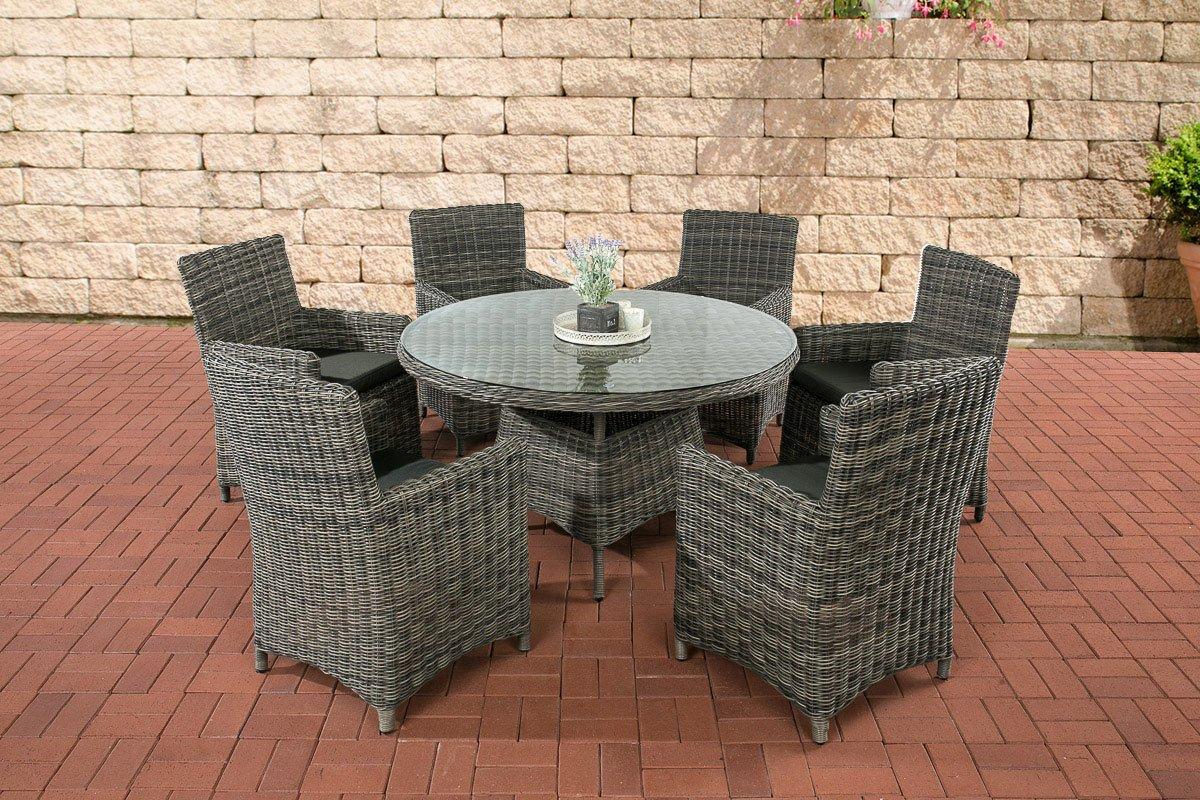 CLP Poly-Rattan Sitzgruppe LARINO (6 Sessel + Tisch rund Ø 130 cm), Premiumqualität: 5 mm RUND-Rattan Bezugfarbe anthrazit, Rattan Farbe grau-meliert