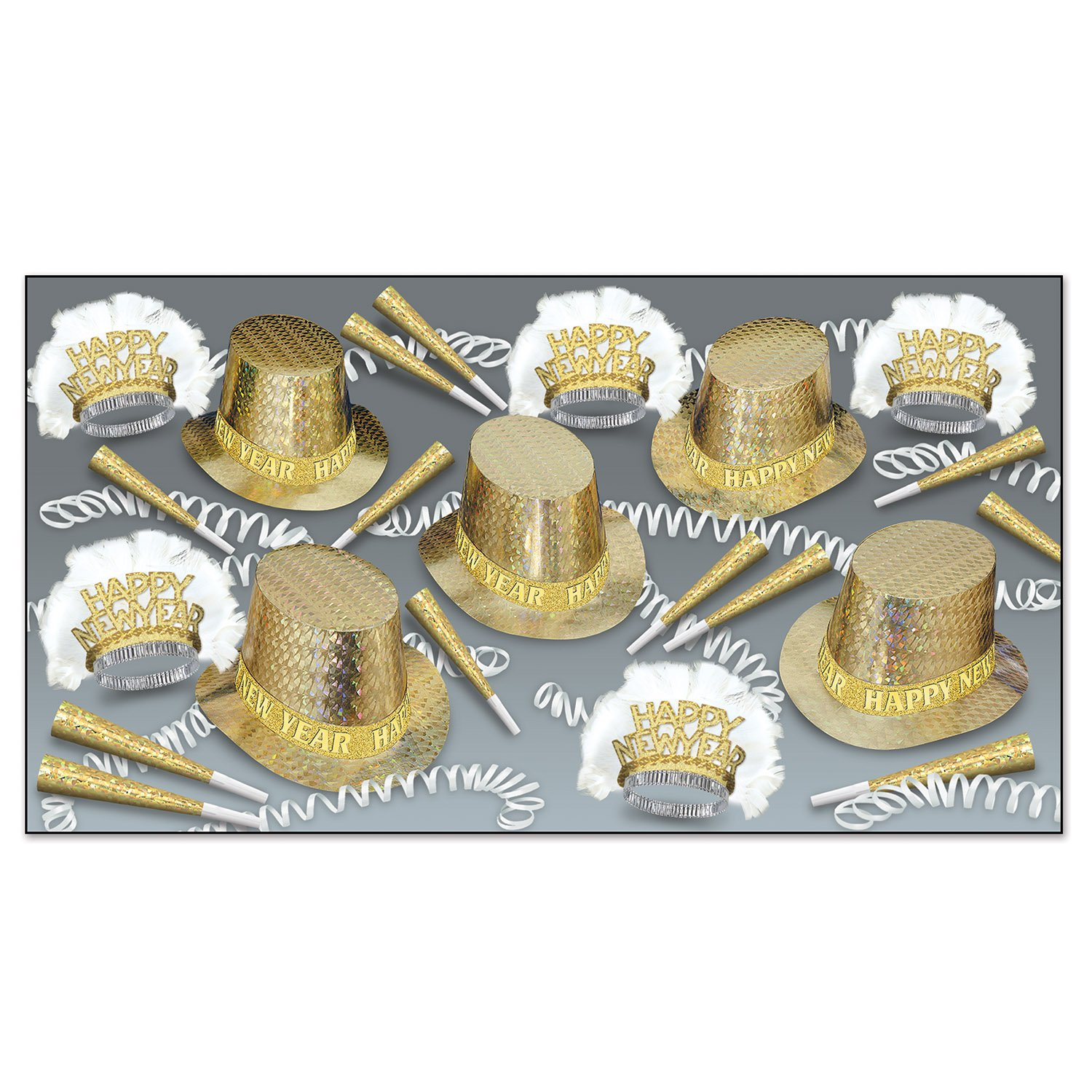 Beistle Topaz Happy New Year Assortment for 50, Gold/White