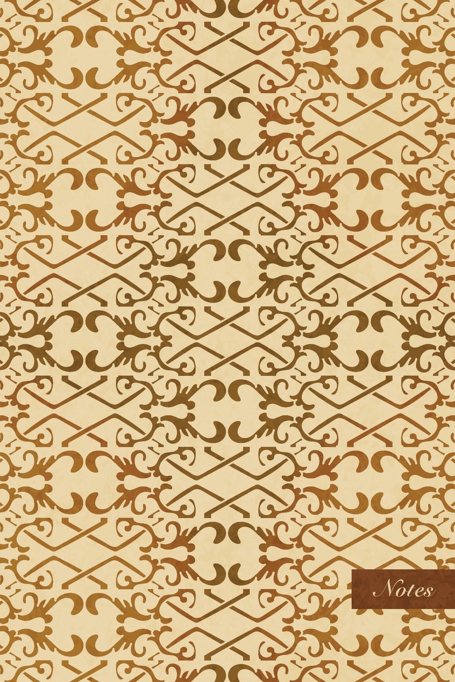 """Notes: 6""""x9"""" Unruled Blank Notebook - Spiral Curve Cross Check Frame Chain Line Crest - Retro Brown Worn Out Vintage Seamless Pattern Cover. Matte Softcover And Cream Interior Papers. pdf"""