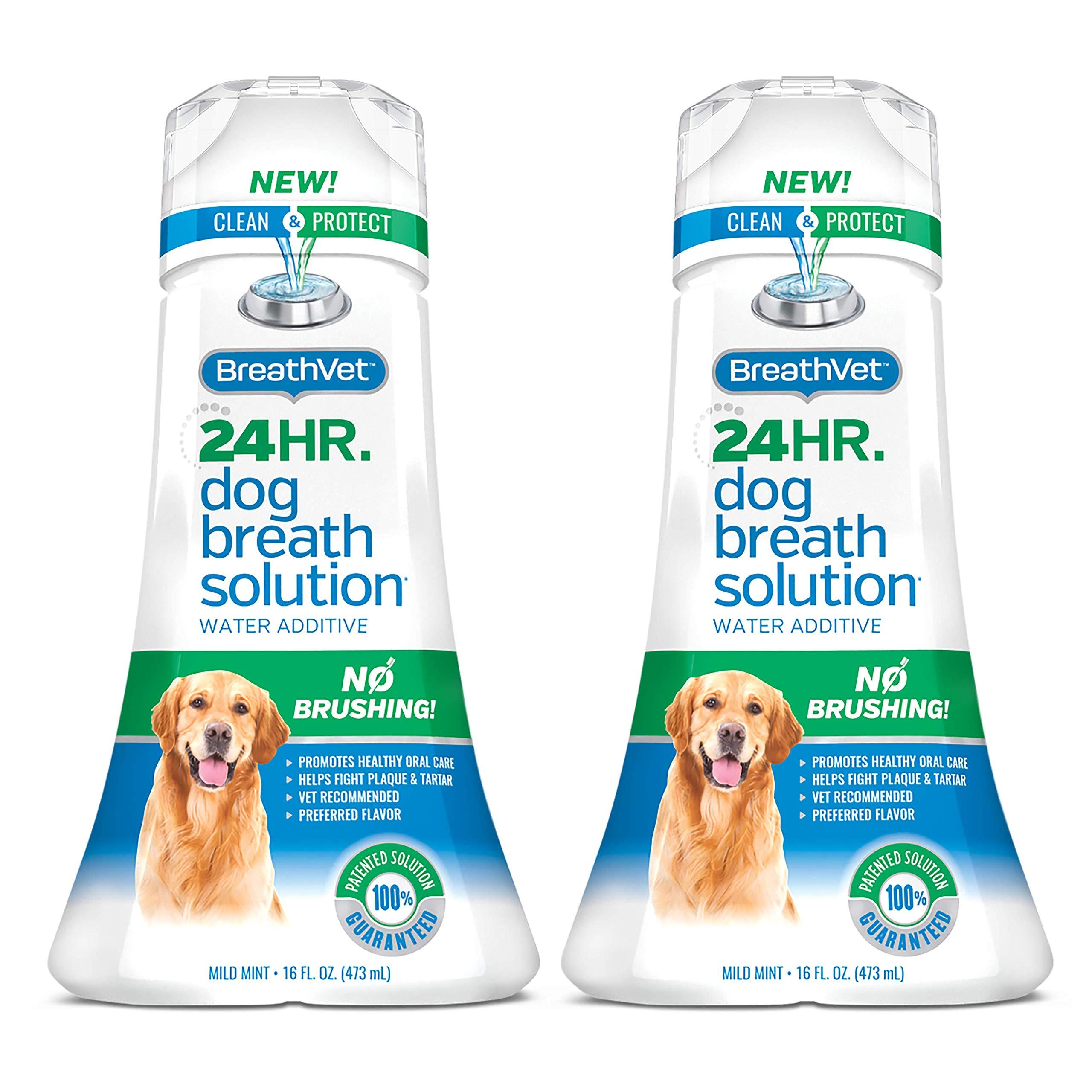 BreathVet Dog Mouthwash Water Additive - Fights Plaque and Tartar - 24HR Bad Dog Breath Solution - 16 oz - 2-Pack by BreathVet