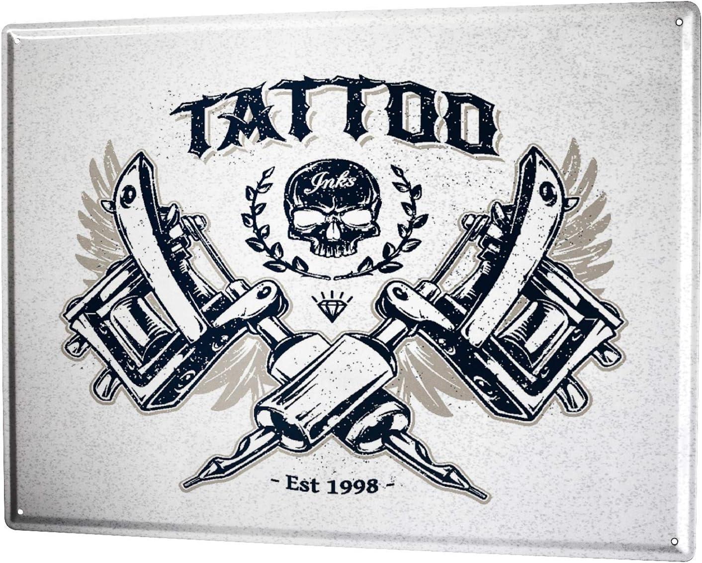 Metal Tin Sign all pain no gain tattoo Decor Pub Bar Home Vintage Retro