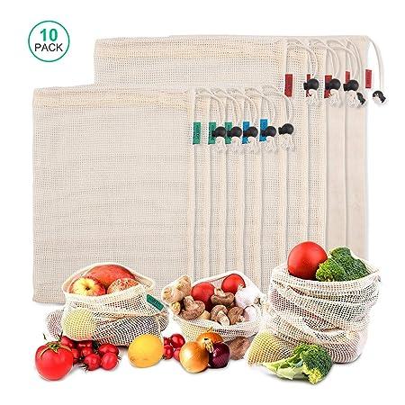 iTrunk Bolsas de vegetales reutilizables de algodón, Juego de 10 Bolsa de Malla Lavable, Bolsas de Malla Transpirables Adecuado para Frutas y Verduras ...