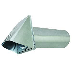 "Deflecto Dryer Vent, Wide Mouth Galvanized Vent Hood, 4"", Silver (GVH4NR)"