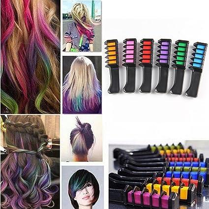 Pelo tiza temporal para el pelo peine tinte Shimmer – Color Crema 6 colores