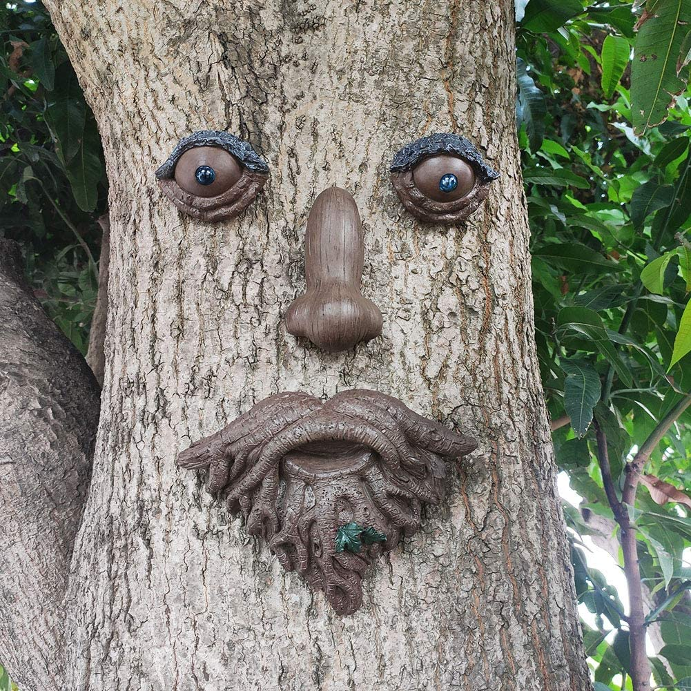MARYTUMM Old Man Tree Hugger - Garden Peeker Yard Art - Outdoor Tree Hugger Sculpture Whimsical Tree Face Garden Decoration