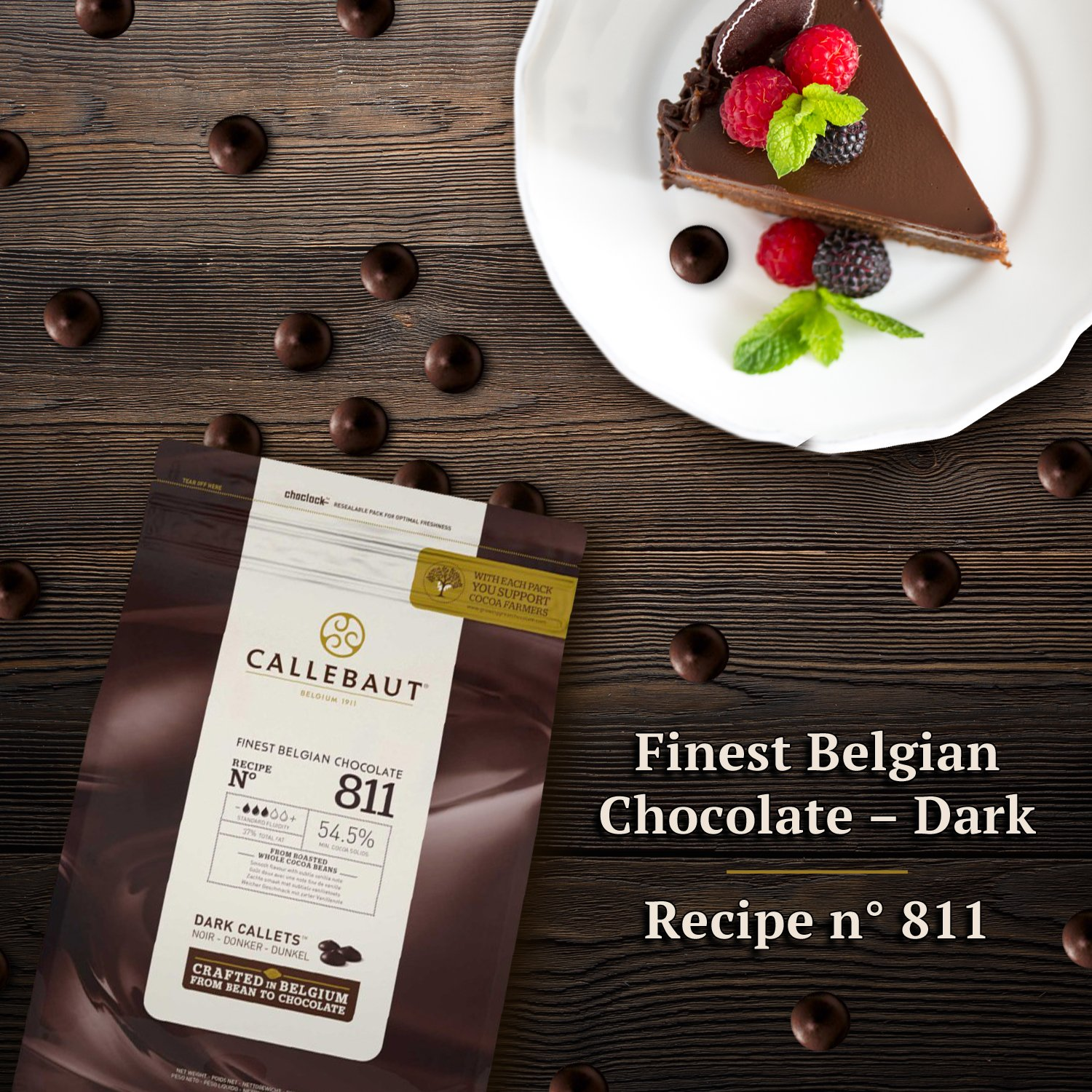 Callebaut Couverture Cacao Dark Baking Belgian Semisweet Chocolate Callets 4 pack. 54.5% Cacao. Recipe N811. (5.5 Lbs x 4; 10 kg) by Callebaut (Image #3)