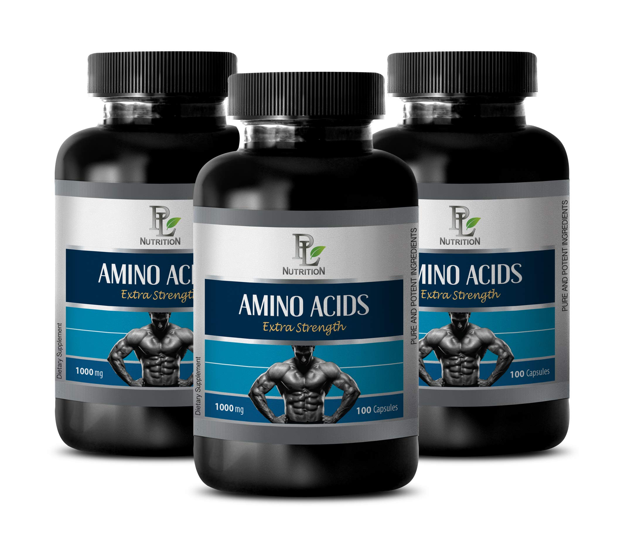 Muscle Mass Gainer - Amino ACIDS Extra Strength 1000MG - l-theanine and l-tyrosine - 3 Bottles 300 Capsules