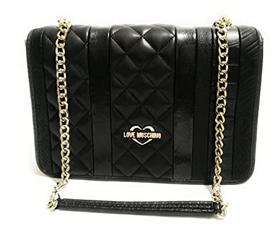 54c66205c6f7 Amazon.com  LOVE Moschino Women s Fashion Stripes Quilted Shoulder Bag Black  One Size  Shoes