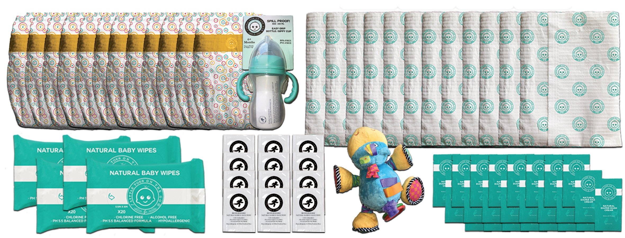 Little Toes On The Go 12 Complete Natural Diaper Change Sets with Bamboo Baby Diapers, Diaper Cream, Baby Wipes, Hand Wipes, Changing Pad, Bottle/Sippy Cup and Toy in Fabric Tote (Medium 13-24lbs)