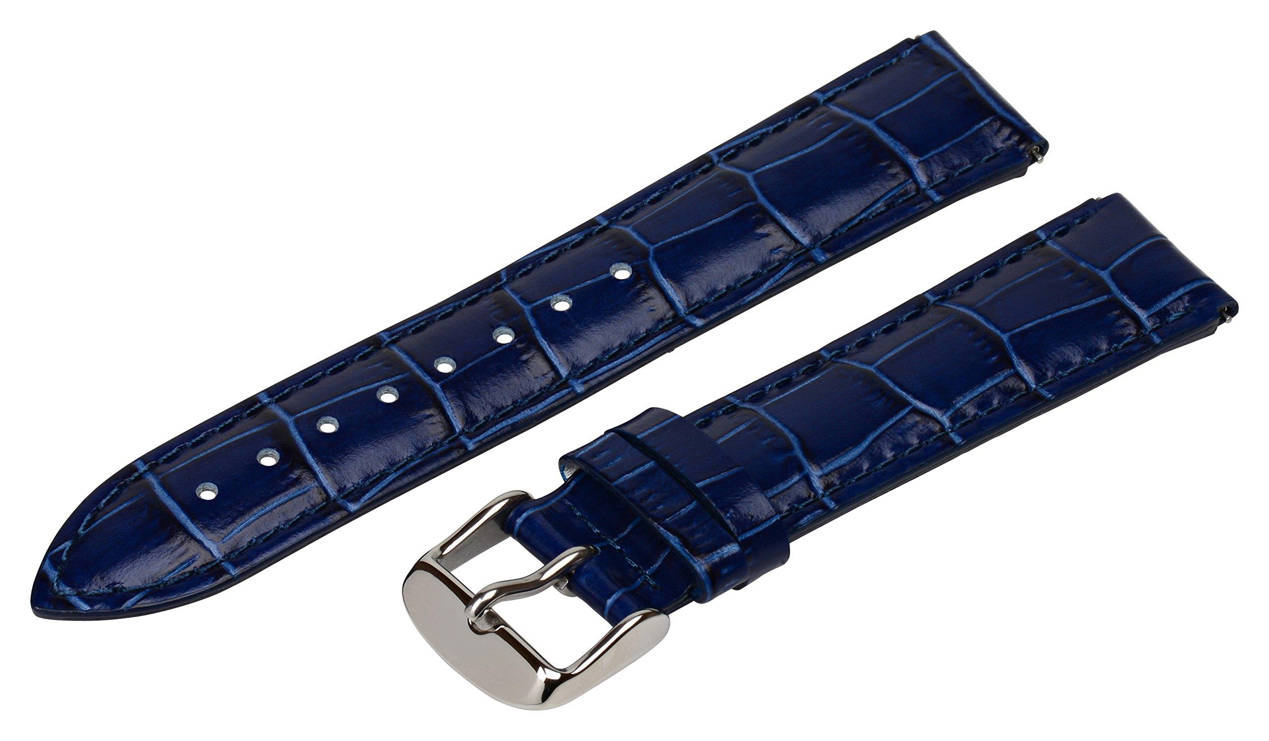 Clockwork Synergy® - 12mm x 10mm - Navy Croco Grain Leather Watch Band fits Philip stein Mini