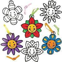 Baker Ross- Atrapasoles Decorativos de Flores Sonrientes (Pack