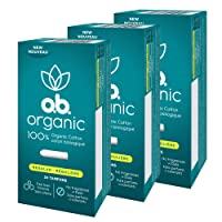 o.b. Organic Tampons, Made with 100% Organic Cotton, Proven 8 Hour Leak Protection, Regular, 24 Count, Pack of 3