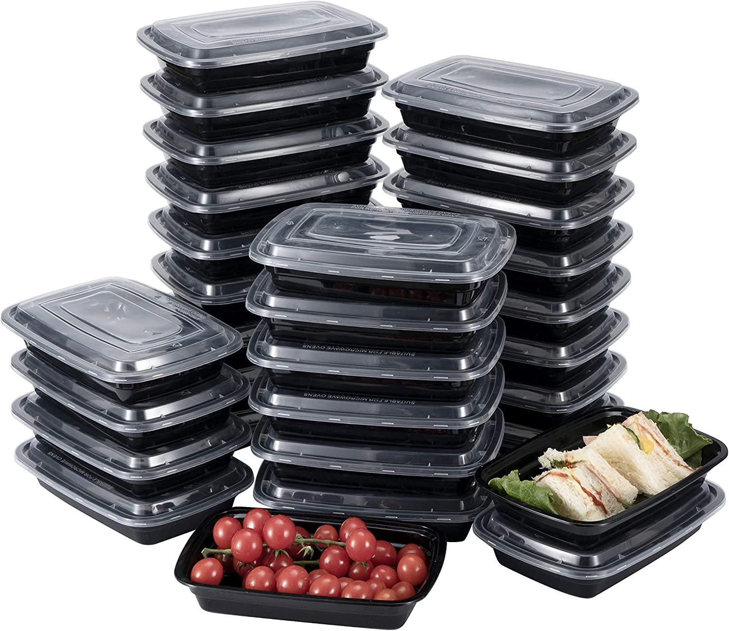 Meal Prep Containers [30 Pack] 1 Compartment with Lids, Food Storage Containers, Bento Box. BPA Free, Stackable, Microwave, Dishwasher and Freezer Safe, Portion Control (26 oz)