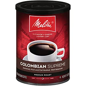 Melitta Colombian Supreme Coffee, Medium Roast, Extra Fine Grind, 11 Ounce Can