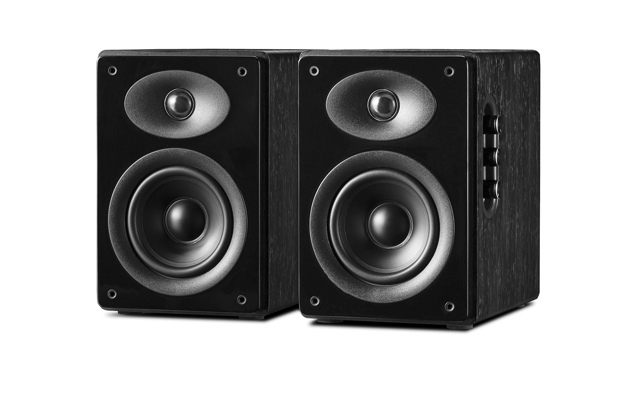 Swan Speakers - D1080MKII - Powered 2.0 Bookshelf Speakers - Full Rosewood Cabinet - High Fidelity Sound - Near-Field Speakers - 5'' Mid-bass Driver & 1'' Dome Tweeter - 60W RMS
