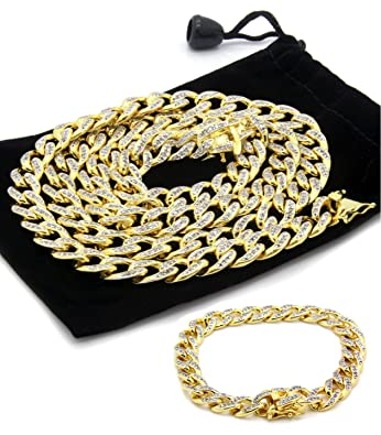 e9893cce029 Gold Tone 10mm Fully Iced Out Simulated Diamond 36 quot  Miami Cuban Chain  ...