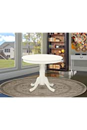 East West Furniture ANT-LWH-TP Antique Dinner Table - Linen White Table Top Surface and Linen White Finish legs Solid Wood Frame Dining Table