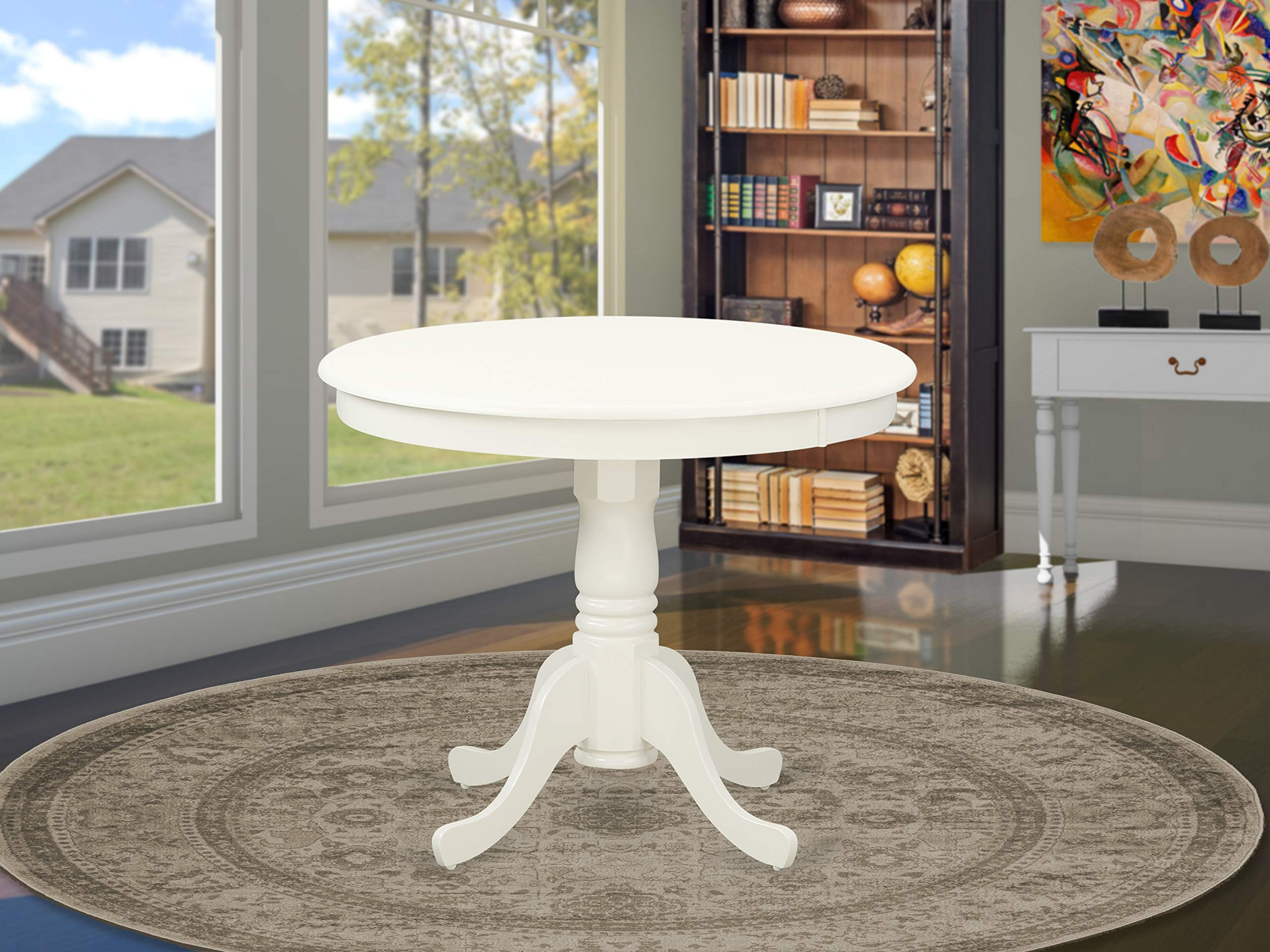 East West Furniture ANT-LWH-TP Antique Table 36'' Round with Finish, Linen White by East West Furniture