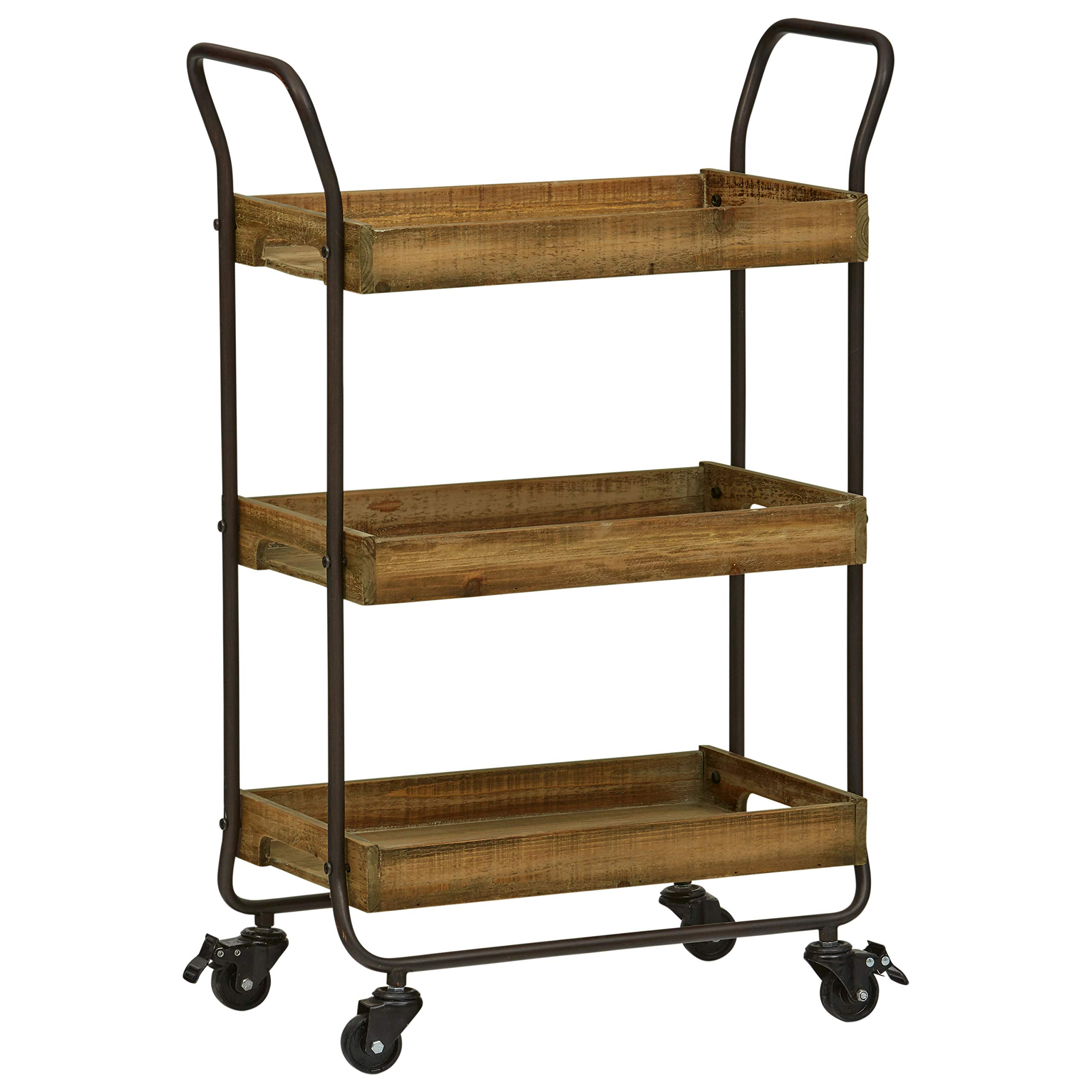Stone & Beam Contemporary Serving Cart 73.03''H, Black, Natural