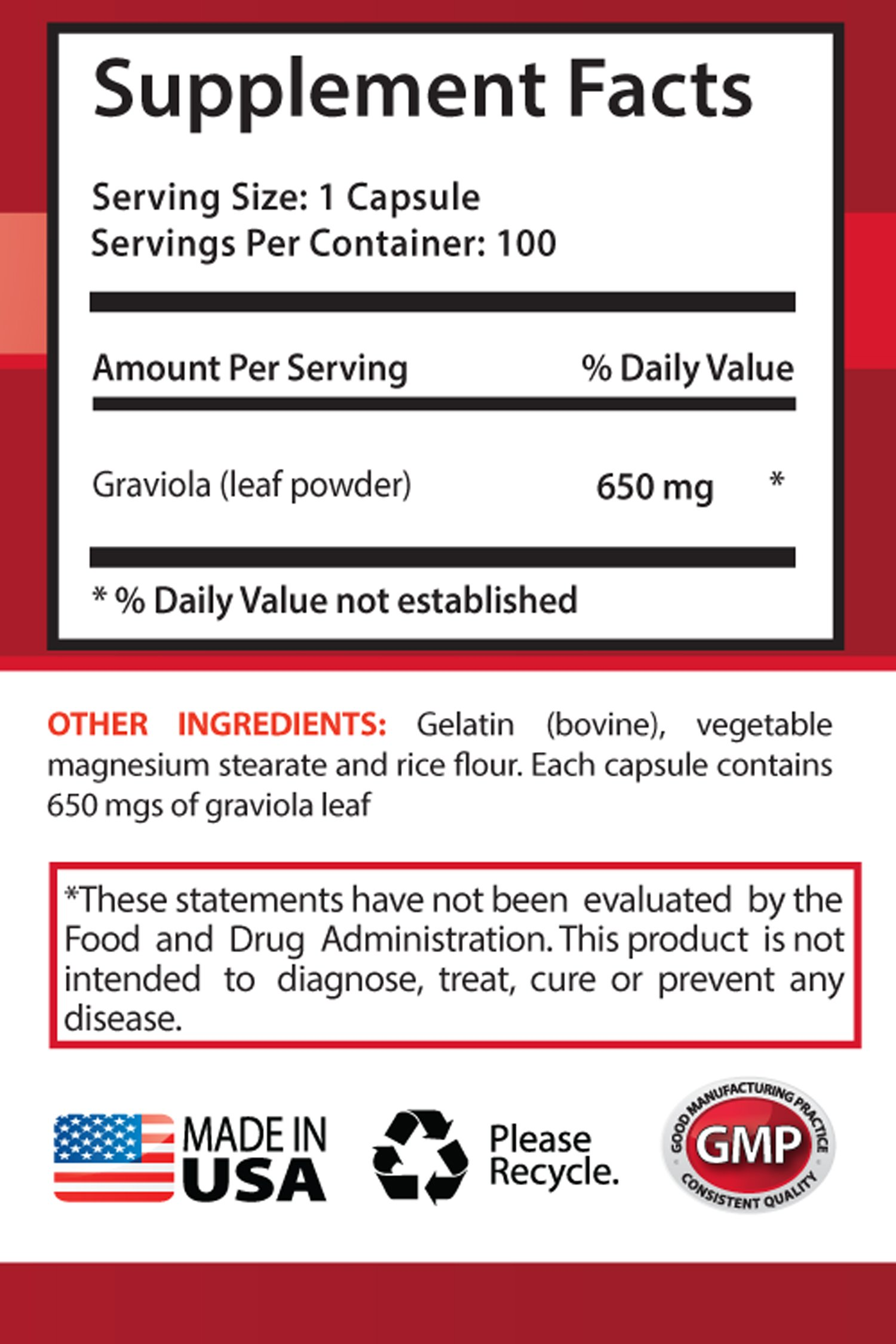 Pancreas Supplement - Premium GRAVIOLA Extract 650 Mg - Soursop Healthy - 6 Bottles 600 Capsules by Health Solution Prime (Image #2)