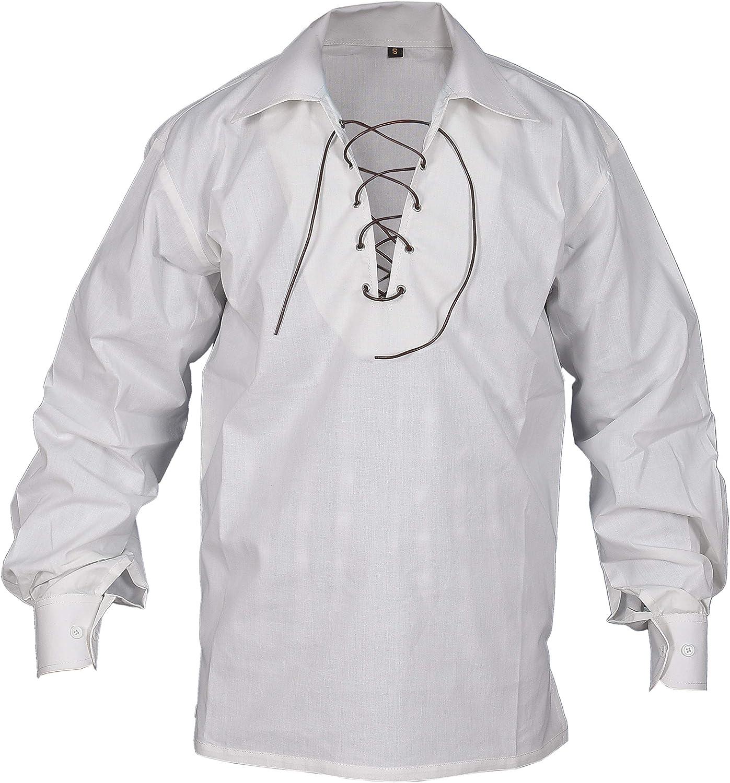 Men/'s Scottish Jacobite Ghillie Kilt Shirt White Colours Size S To 5XL