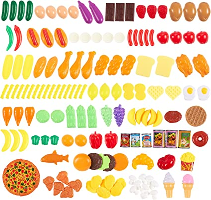 Amazon Com 150 Piece Play Food Set Large Variety Of Fake Plastic Toy Foods For Kids To Play Pretend With 100 Bpa Free Bonus Food Pyramid Card Included Toys Games