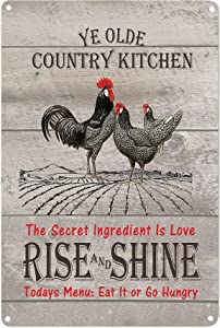 PXIYOU Country Kitchen Rise & Shine Rooster Tin Sign Vintage Metal Signs Farmhouse Home Wall Decor Signs 8X12Inch
