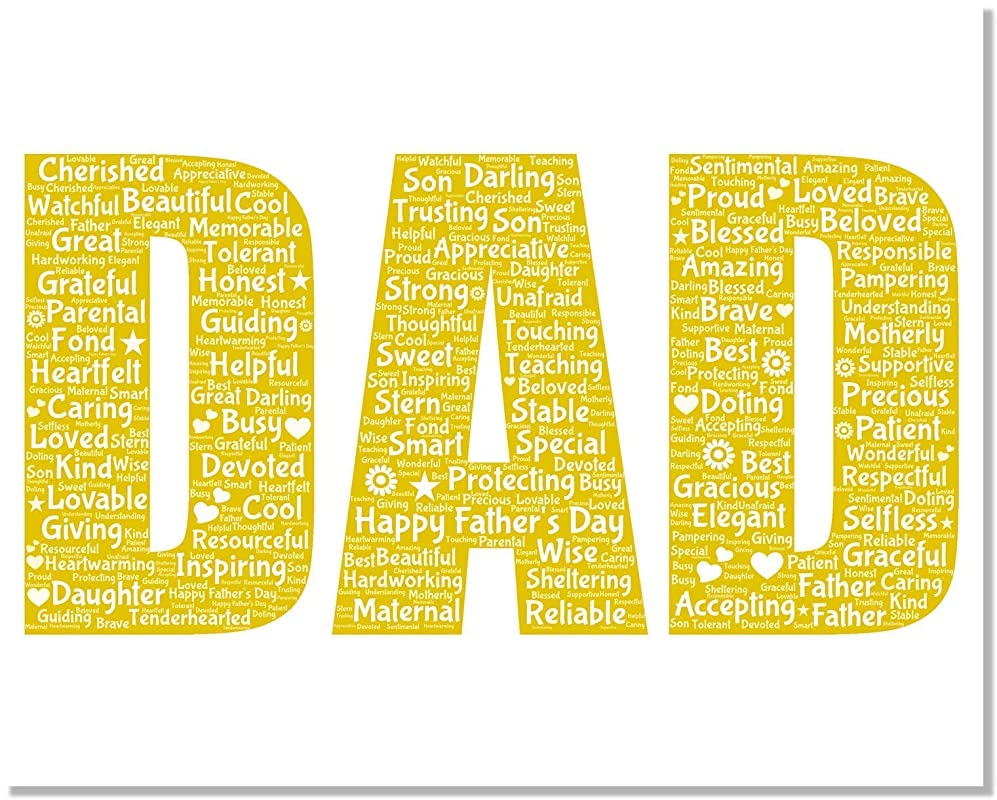 Dad Gifts Wall Art from Words, Personalized Father's day gifts for him, Birthday Gifts, gift for dad Word Art Typography Custom Print for Home Room Decor…