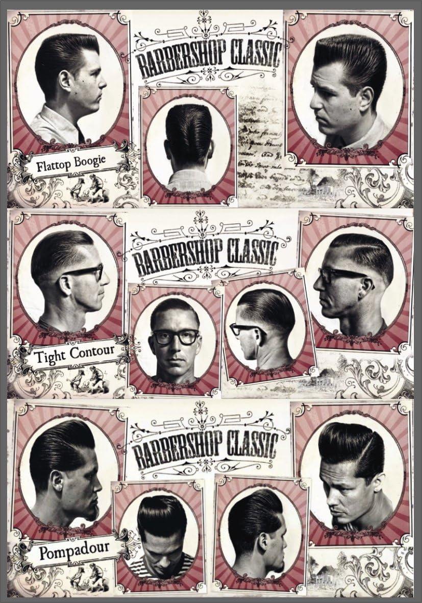 PVC-PLATTE Vintage Werbung Barber Shop Hair Cut Classic PVC-PLATTE 20 x 14 cm mit Druck selbstklebend