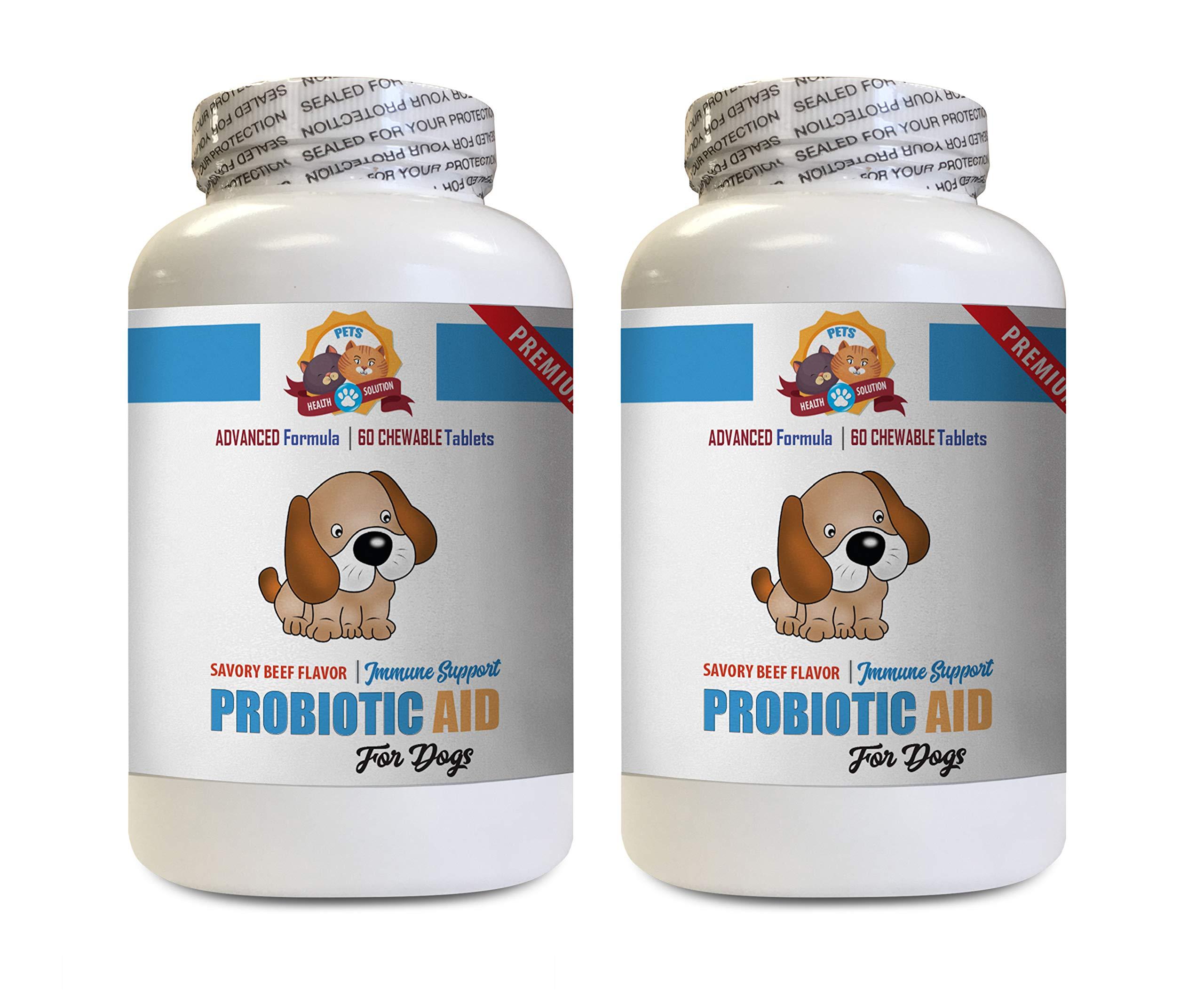 PETS HEALTH SOLUTION Dog probiotic Bites - Dog PROBIOTIC AID - Digestive Boost - GET RID of Bad Breath - Solves Bad Gas Issues - Dog Digestive Bowls - 2 Bottles (120 Chewable Tablets) by PETS HEALTH SOLUTION