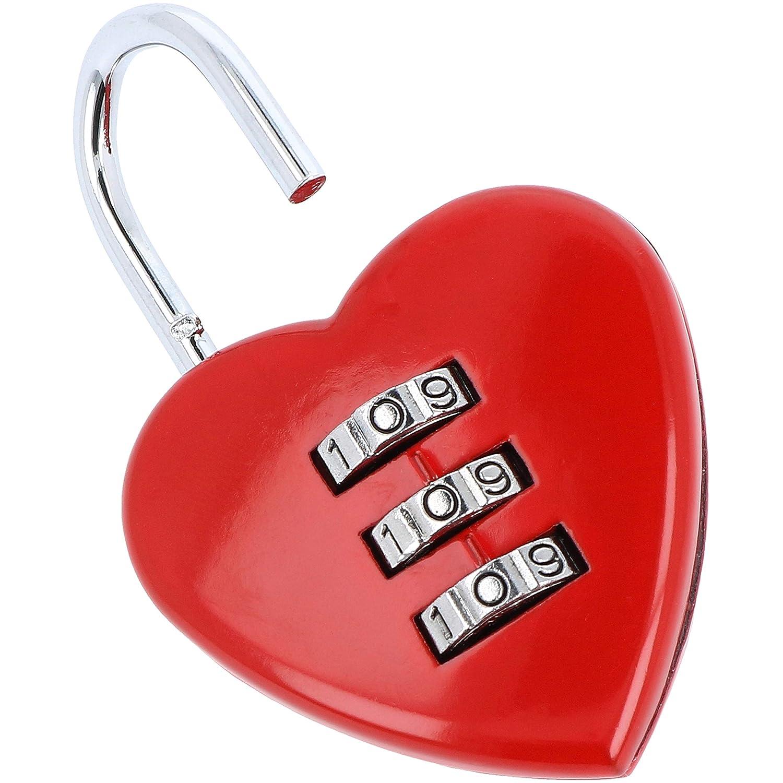 02 pi/èces Serrure Amoureuse avec 2 cl/és chacune com-four/® 2X Cadenas