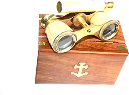 VINTAGE COLLECTIBLE BRASS MOTHER-OF-PEARL-BINOCULAR-OPERA-GLASSES W// WOODEN BOX