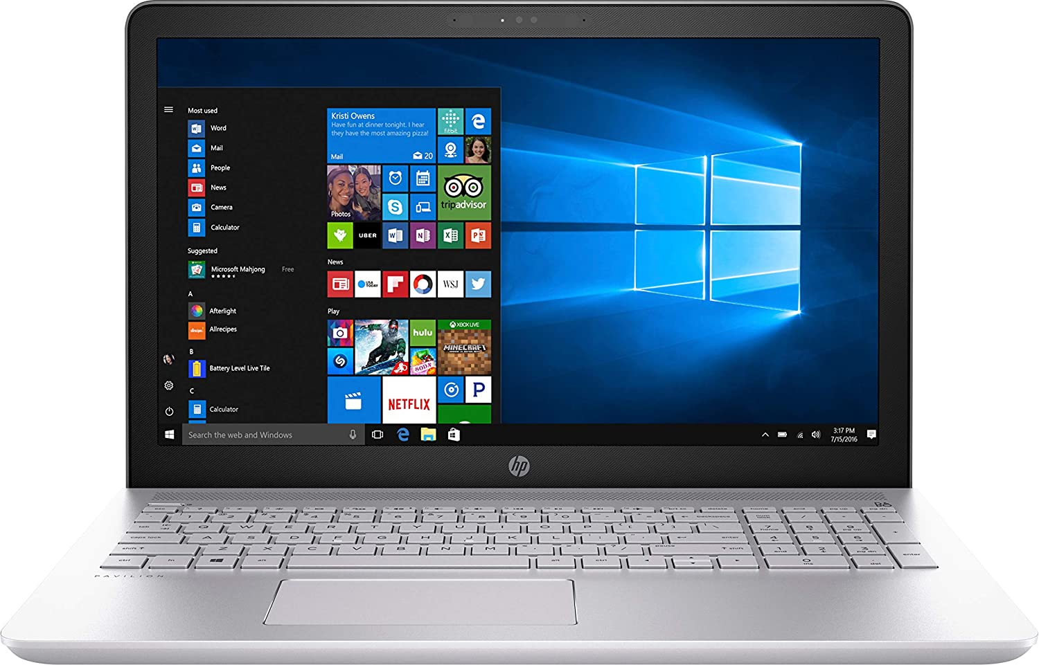 "HP Pavilion 15-cc158nr 15.6"" Laptop Computer - Silver Intel Core i5-8250U Processor 1.6GHz; Microsoft Windows 10 Home; 8GB DDR4 SDRAM; 256GB Solid State Drive"