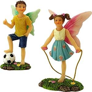 PRETMANNS Fairy Garden Fairies Accessories - Fairy Figurine & Boy Fairy Miniatures Set - Fairy Garden Supplies 2 Piece Fairy Garden Kit