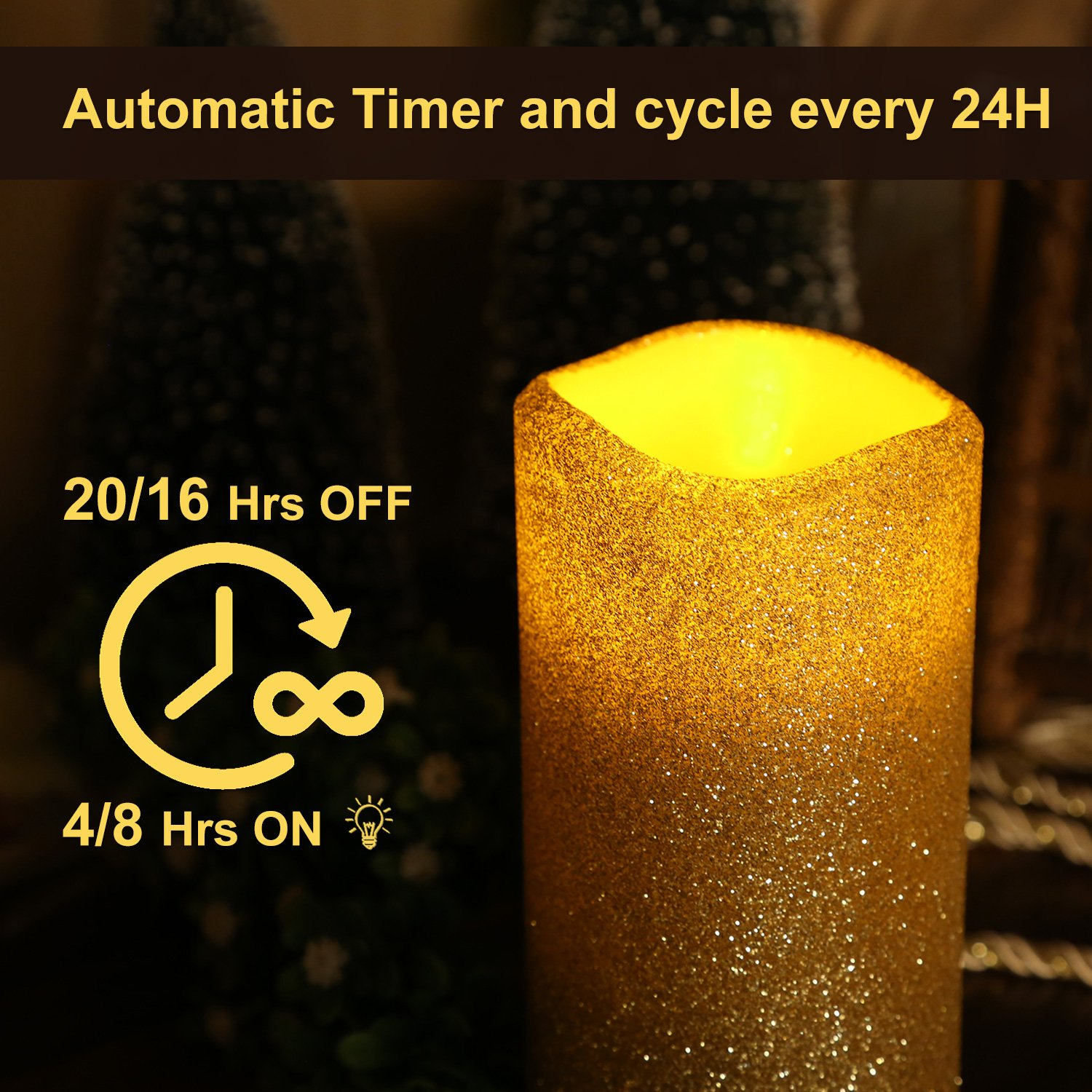 GiveU Flameless Real Wax LED Pillar Candle with Timer and Goldenrod Glitter Powder JB14001
