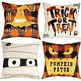 D-FantiX Halloween Pillow Covers 18x18 Inch Happy Halloween Decorations Pillow Cases Set of 4 Square Cotton Linen Sofa…